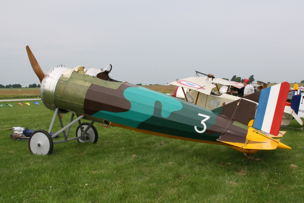 Sporting its new colors, the Morane joined the aircraft on the flight line.