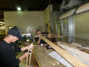 Aviation career school students work on Neiuport spars
