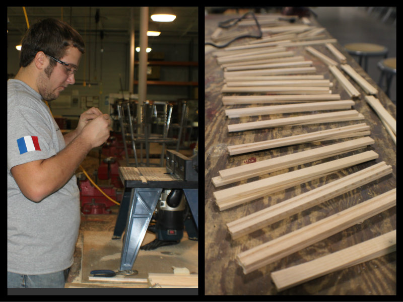 Frankie Marcinek at the aviation career school works on fabricating the aileron capstrips.