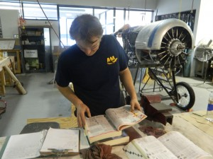 Marcus Cook looking up some parts for the WW1 Nieuport 24