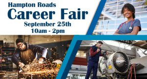 two males and a female working in skilled trades for the HAmpton Roads Career Fair on Septermever 25th from 10 am till 2 pm